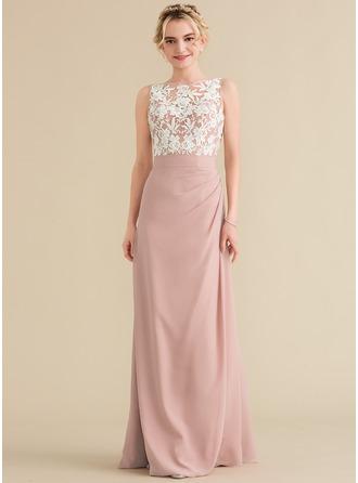 A-لاين أميرة عنق مدور الطول الأرضي الشيفون ربط الحذاء فستان وصيفة الشرف مع كشكش