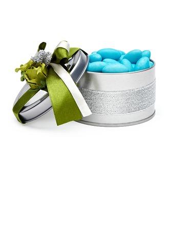 Fleurs souriantes Cylindre Boîte cadeau en fer avec Fleurs/Rubans
