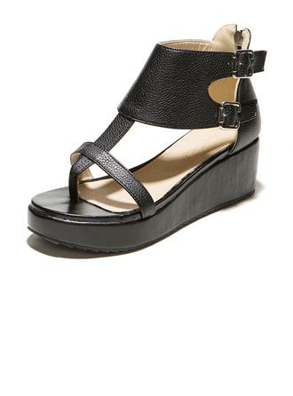 Similicuir Talon compensé Sandales Plateforme avec Boucle Zip chaussures