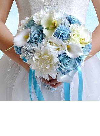 Elegante Redondo Satén/PE/Rhinestone/ropa de seda Ramos de novia/Ramos de la dama de honor