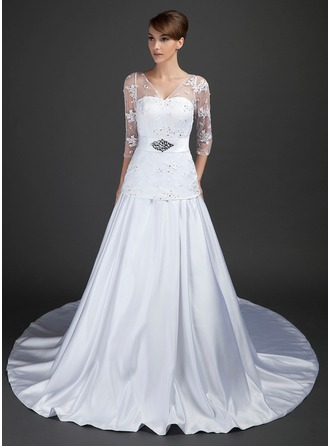 A-Line/Princess V-neck Cathedral Train Satin Tulle Wedding Dress With Lace Beading Sequins