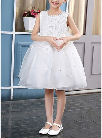 Princess Knee-length Flower Girl Dress - Tulle Sleeveless Scoop Neck With Lace