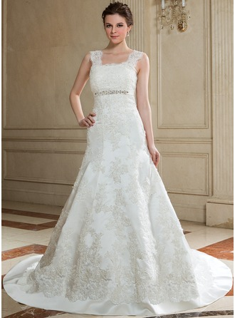 Trumpet/Mermaid Square Neckline Chapel Train Satin Wedding Dress With Beading Appliques Lace