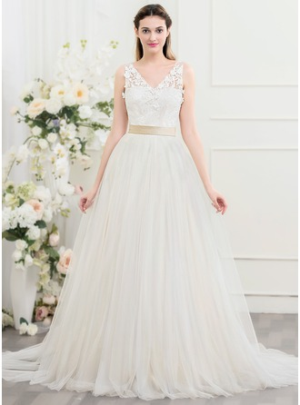 Ball-Gown V-neck Court Train Tulle Wedding Dress With Flower(s) Bow(s)