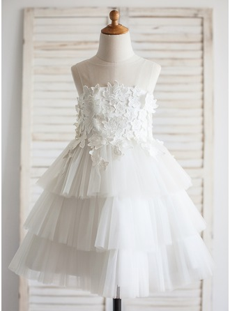 A-Line/Princess Tea-length Flower Girl Dress - Tulle/Lace Sleeveless Scoop Neck With Appliques