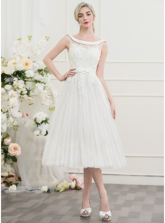 A-Line/Princess Off-the-Shoulder Tea-Length Tulle Lace Wedding Dress With Beading Bow(s)