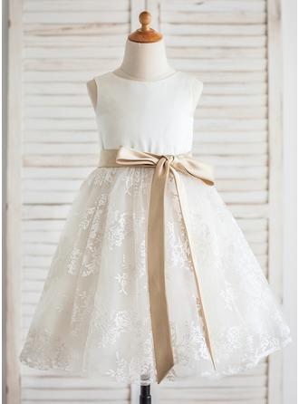 Forme Princesse Longueur genou Robes à Fleurs pour Filles - Satiné/Dentelle Sans manches Col rond avec Ceintures
