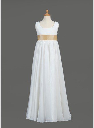 Empire Scoop Neck Floor-Length Chiffon Taffeta Flower Girl Dress With Sash