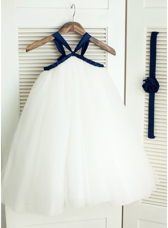 A-Line/Princess Knee-length Flower Girl Dress - Satin/Tulle Sleeveless Straps
