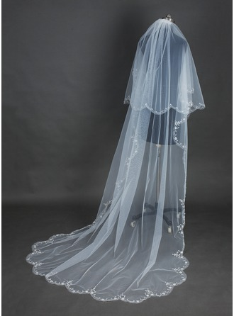 Two-tier Cathedral Bridal Veils With Scalloped Edge