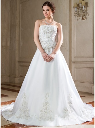 A-Line/Princess Strapless Chapel Train Organza Wedding Dress With Embroidery Beading Sequins