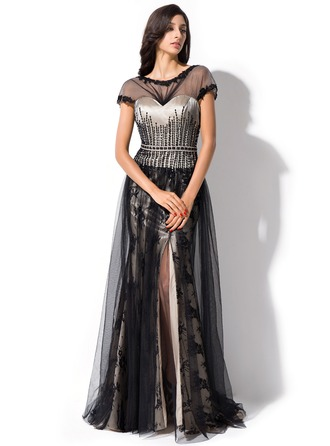 A-Line/Princess Scoop Neck Sweep Train Tulle Lace Evening Dress With Ruffle Beading Sequins Split Front