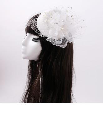 Dames Beau Fleur en soie/Tulle avec De faux pearl Chapeaux de type fascinator