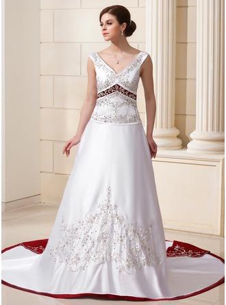 A-Line/Princess V-neck Chapel Train Satin Wedding Dress With Beading Sequins