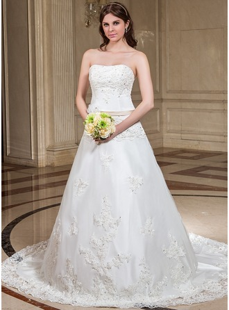 A-Line/Princess Sweetheart Chapel Train Organza Satin Wedding Dress With Lace Sash Beading Flower(s) Sequins