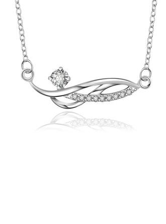 Elegant Copper/Zircon/Silver Plated Necklaces
