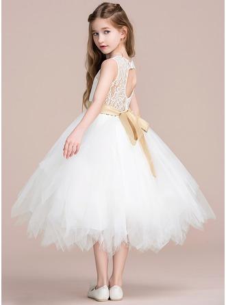 A-Line/Princess Tea-length Flower Girl Dress - Tulle/Lace Sleeveless Jewel With Sash/Back Hole