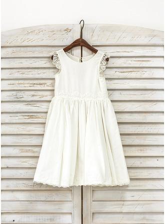 Forme Princesse Longueur genou Robes à Fleurs pour Filles - Coton Sans manches Col rond avec Dentelle