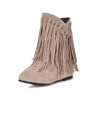 Femmes Suède Talon bas Bottines avec Tasse chaussures