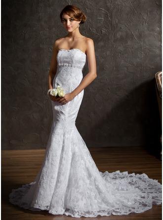 Trumpet/Mermaid Sweetheart Chapel Train Satin Lace Wedding Dress With Beading