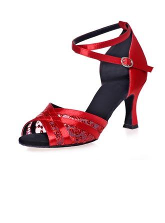 Femmes Satiné Talons Sandales Latin avec Lanière de cheville Chaussures de danse
