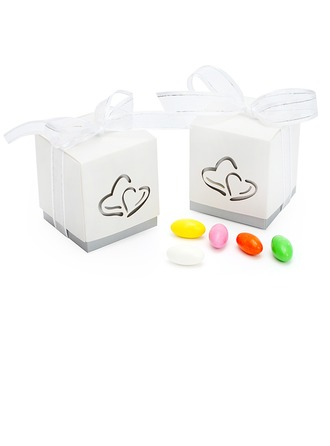 Découpes cœur Cubique Boîtes cadeaux avec Rubans
