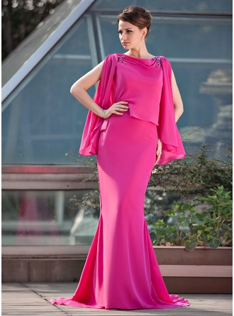 Trumpet/Mermaid Scoop Neck Sweep Train Chiffon Mother of the Bride Dress With Beading
