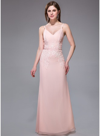 Sheath/Column V-neck Floor-Length Chiffon Charmeuse Evening Dress With Lace Beading Sequins