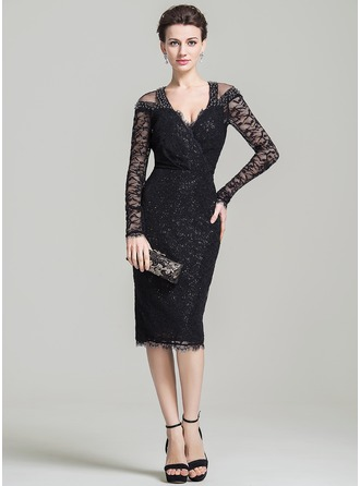 Sheath/Column V-neck Knee-Length Lace Mother of the Bride Dress With Beading