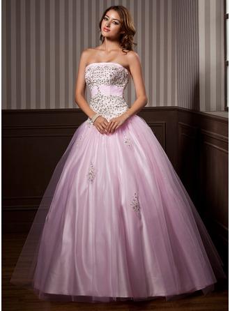 Corte de baile Estrapless Vestido Satén Tul Vestido de quinceañera con Volantes Bordado Lentejuelas