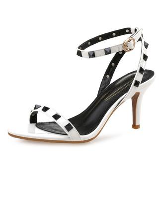 Femmes Cuir verni Talon stiletto Sandales Escarpins avec Rivet chaussures