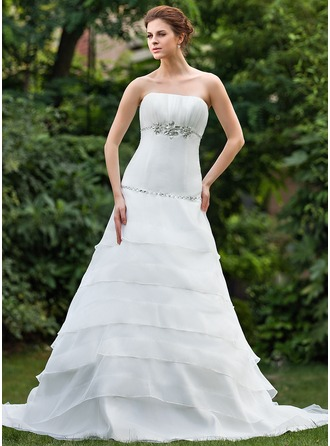 A-Line/Princess Strapless Cathedral Train Organza Wedding Dress With Ruffle Beading