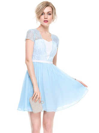 A-Line/Princess Sweetheart Short/Mini Chiffon Lace Cocktail Dress