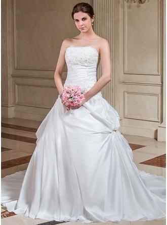 A-Line/Princess Strapless Court Train Taffeta Wedding Dress With Ruffle Lace Beading Sequins