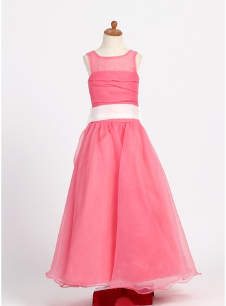 A-Line/Princess Scoop Neck Floor-Length Organza Flower Girl Dress With Ruffle Sash Bow(s)