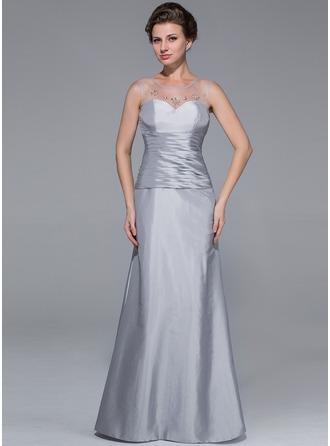 Trumpet/Mermaid Scoop Neck Floor-Length Taffeta Mother of the Bride Dress With Ruffle Beading