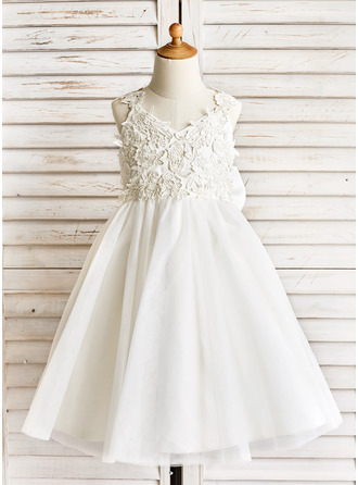A-Line/Princess Tea-length Flower Girl Dress - Tulle Shoulder straps With Appliques/Bow(s)