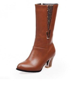 Femmes Similicuir Talon bottier Escarpins Bout fermé Bottes hautes avec Pailletes scintillantes Zip chaussures
