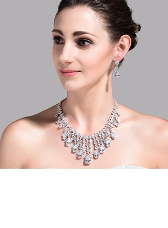 Magnificent Zircon/Platinum Plated Ladies' Jewelry Sets