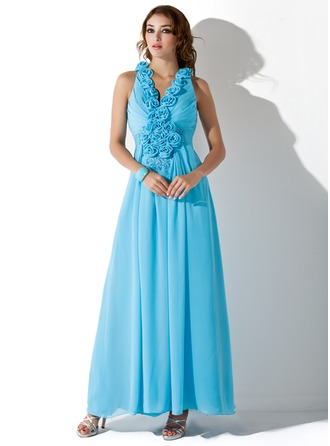 A-Line/Princess V-neck Ankle-Length Chiffon Prom Dress With Ruffle Beading Appliques Flower(s) Sequins