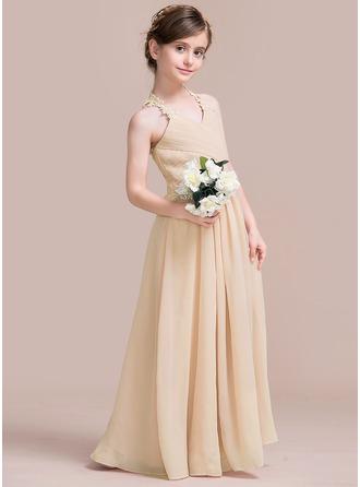 A-Line/Princess V-neck Floor-Length Chiffon Junior Bridesmaid Dress With Ruffle Lace