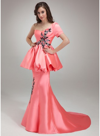 Trumpet/Mermaid One-Shoulder Court Train Satin Prom Dress With Beading Appliques Sequins Cascading Ruffles