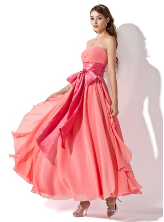 Empire Strapless Ankle-Length Chiffon Charmeuse Prom Dress With Ruffle Sash Bow(s) Cascading Ruffles