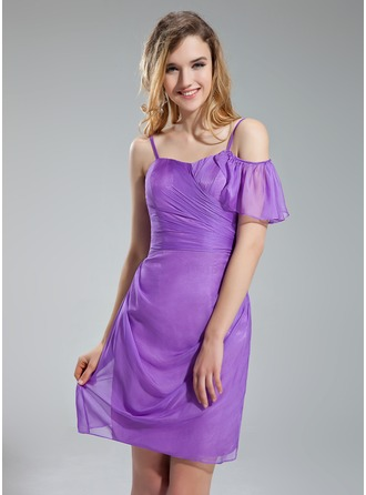 Sheath/Column Sweetheart Short/Mini Chiffon Bridesmaid Dress With Cascading Ruffles