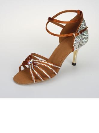 Femmes Satin Sandales Escarpins Latin Salle de bal Salsa avec Strass Lanière de cheville Boucle Chaussures de danse