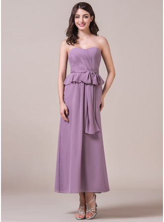 A-Line/Princess Sweetheart Ankle-Length Chiffon Bridesmaid Dress With Bow(s) Cascading Ruffles