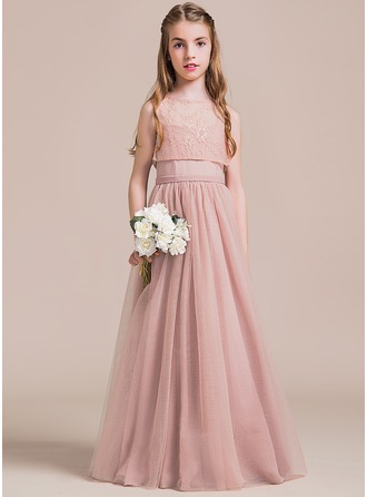 A-Line/Princess Sweetheart Floor-Length Tulle Junior Bridesmaid Dress