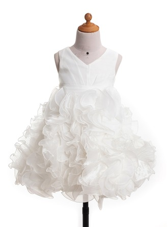 A-Line/Princess V-neck Knee-Length Satin Flower Girl Dress With Ruffle Bow(s)
