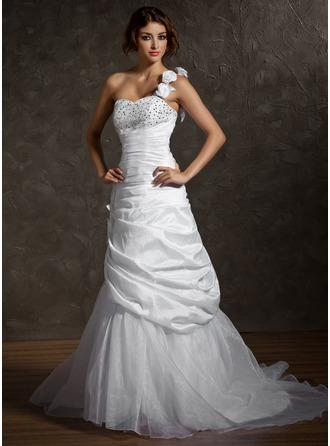 A-Line/Princess One-Shoulder Court Train Taffeta Organza Wedding Dress With Ruffle Beading Flower(s) Sequins