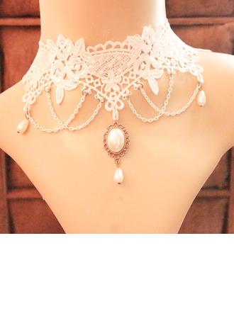 Chic Alliage De faux pearl Dentelle avec Perle d'imitation Dentelle Dames Collier de mode